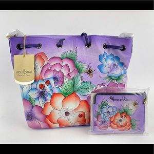 ANUSCHKA PEONIES AND PAISLEYS HAND PAINTED LEATHER